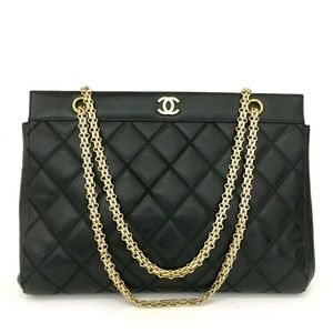 💯 Auth CHANEL Quilted Matelasse Lambskin Tote